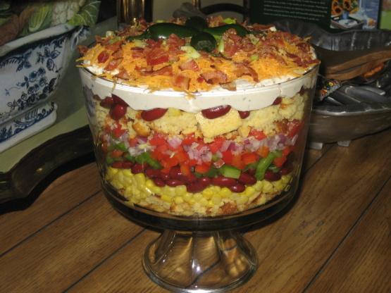 southwestern cornbread layered salad recipe genius kitchen