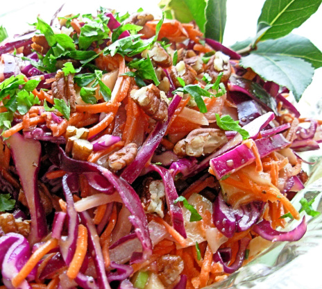 Dazzling Winter Slaw Red Cabbage Apple And Pecan Salad Recipe Food Com