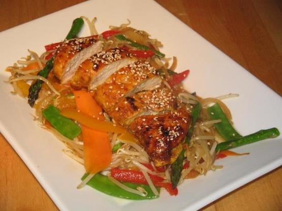 Spicy Chicken Breast Roast With Stir Fried Vegetables Recipe