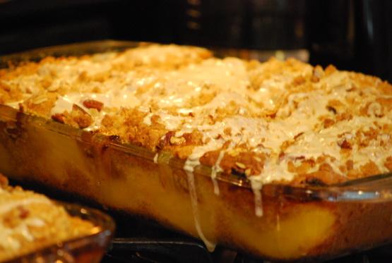 5 Layer Peach Cobbler Coffee Cake Recipe Genius Kitchen
