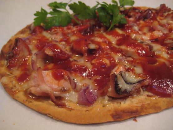 Flatbread Pizza With BBQ Chicken Gruyere And Caramelized Onion Recipe