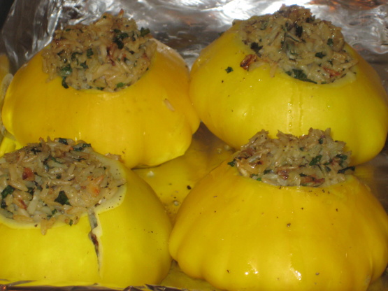 Rice Stuffed Sunburst Patty Pan Summer Squash Recipe Genius Kitchen