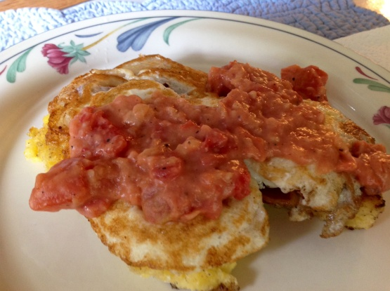 Fried Grit Cakes With Eggs And Tomato Gravy Recipe - Genius Kitchen