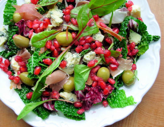 christmas deli salad with pomegranate parma ham and gorgonzola recipe genius kitchen