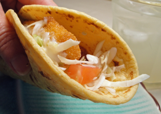 Robyns fish stick tacos recipe genius kitchen for Fish stick tacos