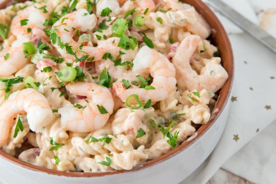Shrimp louis pasta salad recipe genius kitchen for Prawn and pasta salad recipes