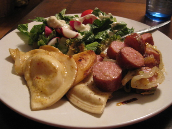 Kielbasa With Pierogies And Caramelized Onions Recipe
