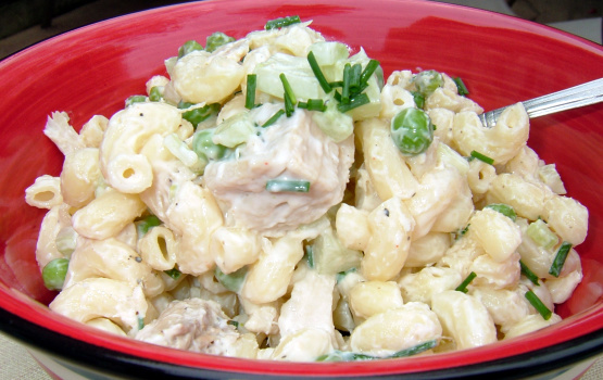 Simple tuna pasta salad recipe genius kitchen for Macaroni salad with tuna fish