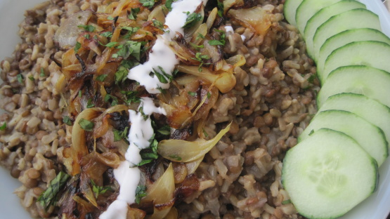 Lebanese lentil rice pilaf with blackened onions recipe genius kitchen forumfinder Images