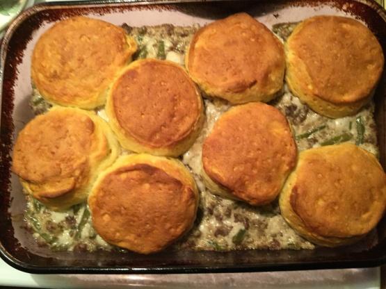 Ground Beef Casserole With Biscuits Recipe Genius Kitchen