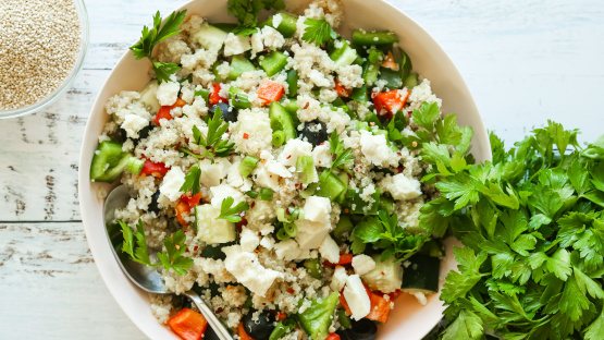 Quinoa Greek Salad Recipe Genius Kitchen