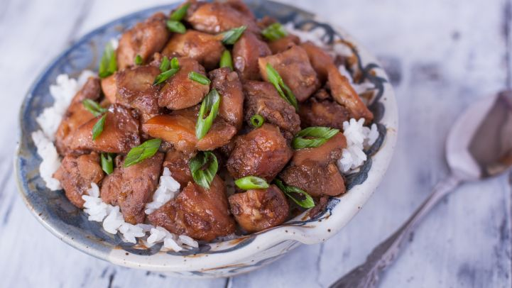 Best holiday party finger foods genius kitchen cajun bourbon chicken bites recipe forumfinder Image collections