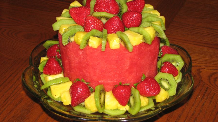 Fruit Cake Fresh Fruit In The Shape Of A Cake Recipe Genius Kitchen