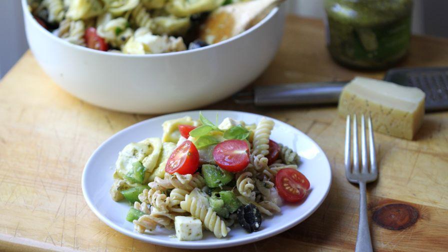 Cheese tortellini pesto pasta salad recipe genius kitchen 16 view more photos save recipe forumfinder Gallery