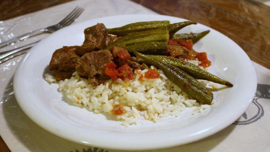 Bamya lamb or beef and okra stew recipe genius kitchen 1 view more photos save recipe forumfinder Choice Image