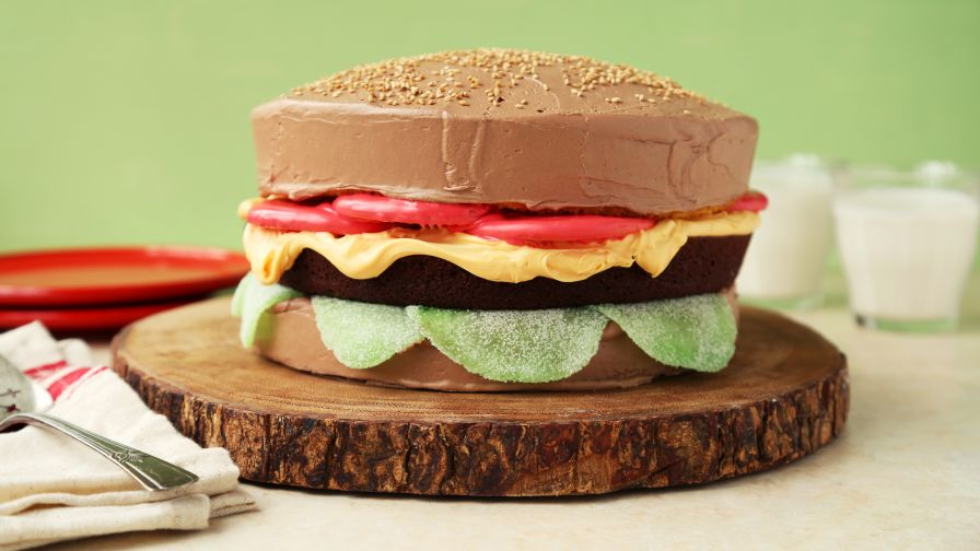 April Fools Day Cheeseburger Cake Recipe Genius Kitchen