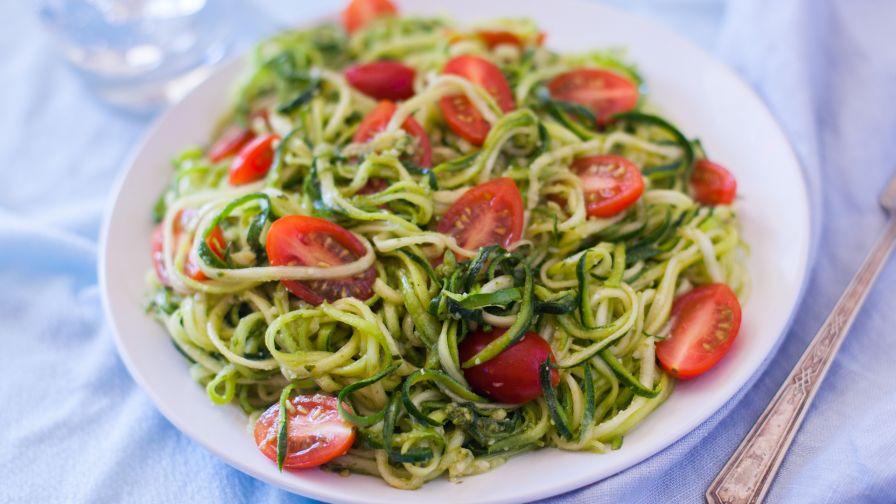 Raw angel hair zucchini pasta with fresh pesto recipe genius kitchen 7 view more photos save recipe forumfinder Gallery