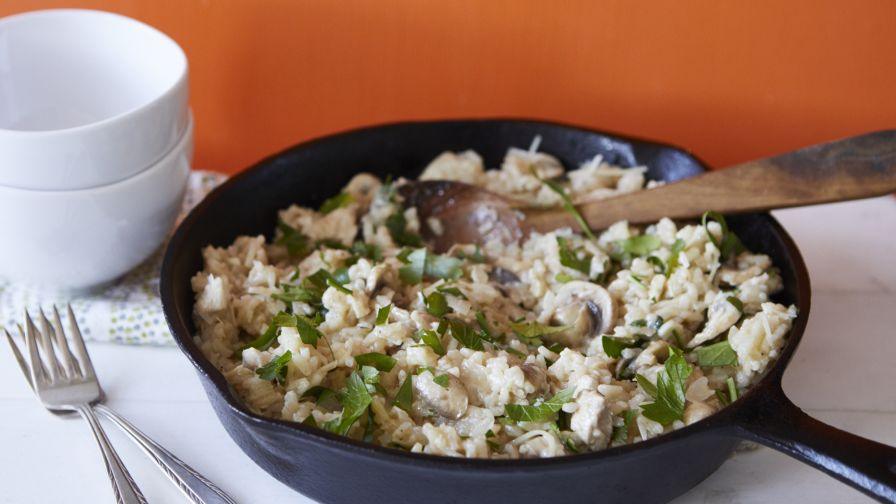 Chicken and mushroom risotto recipe genius kitchen 15 view more photos save recipe forumfinder Gallery