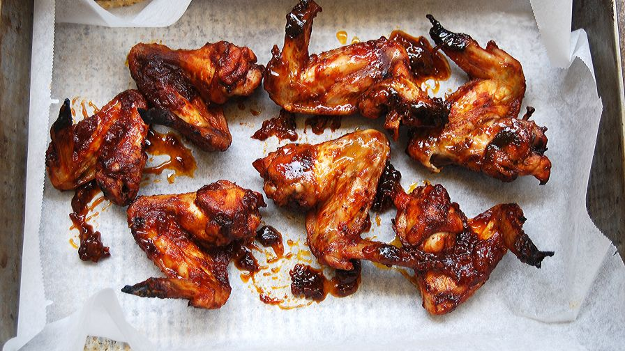Oven barbecued chicken wings recipe genius kitchen 12 view more photos save recipe forumfinder Choice Image