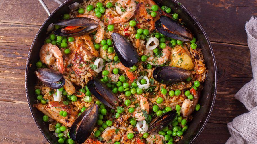 Spanish seafood paella recipe genius kitchen 9 view more photos save recipe forumfinder Choice Image
