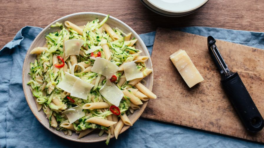 Courgette zucchini pasta with chili garlic and parmesan recipe 7 view more photos save recipe forumfinder Choice Image