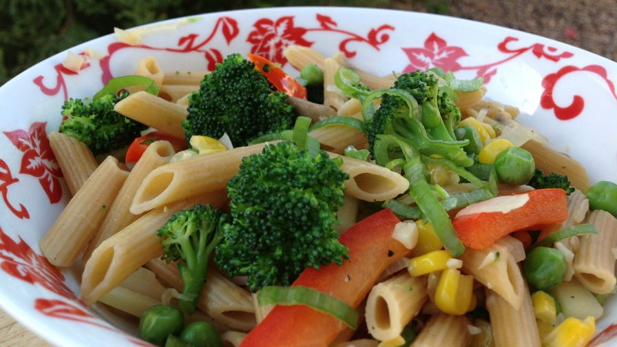 Creamless Penne Pasta Primavera With Olive Oil And Garlic Recipe ...