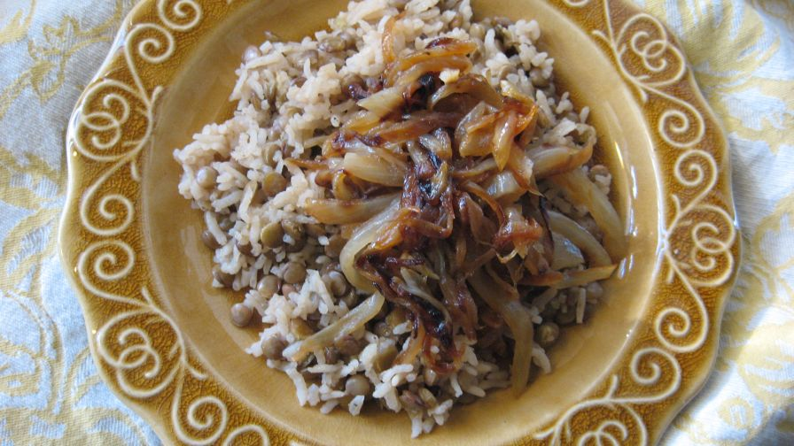 Palestinian lentils and rice with crispy onions recipe genius kitchen 3 view more photos save recipe forumfinder Image collections