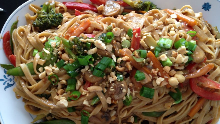 Thai noodles with spicy peanut sauce recipe genius kitchen 13 view more photos save recipe forumfinder Choice Image