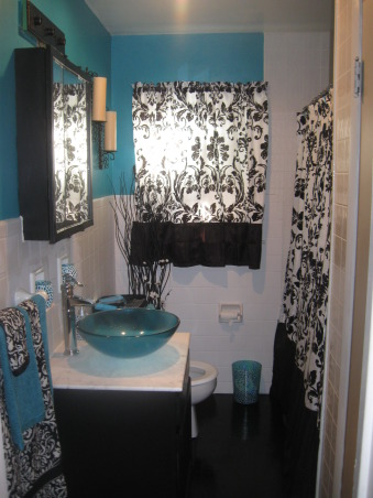 black white and teal bathroom information about rate my space questions for hgtv 22786