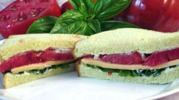 Tomato, Basil & American Cheese Sandwich